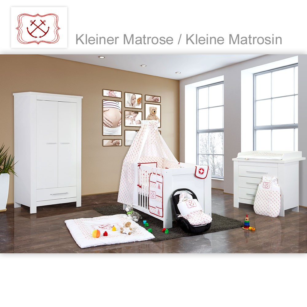 babyzimmer bett wickelkommode schrank inkl babyausstattung ebay. Black Bedroom Furniture Sets. Home Design Ideas