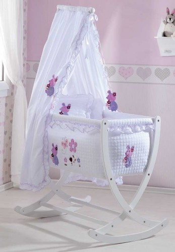 luxus baby wiege mit matratze und stange rosa und blau ebay. Black Bedroom Furniture Sets. Home Design Ideas