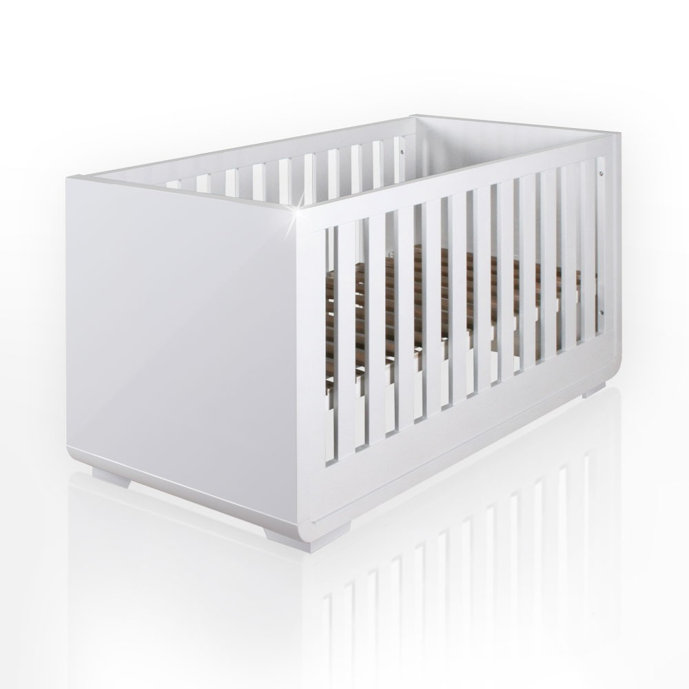 hochglanz babybett yves 60cm x 120cm in wei ebay. Black Bedroom Furniture Sets. Home Design Ideas