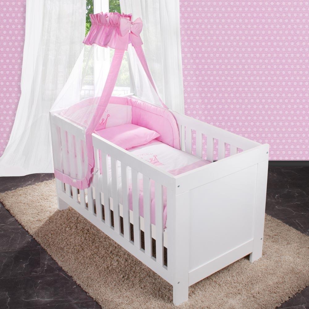 8 tlg babybettset mit prinz prinzessin applikation bett tasche kissen und deck ebay. Black Bedroom Furniture Sets. Home Design Ideas