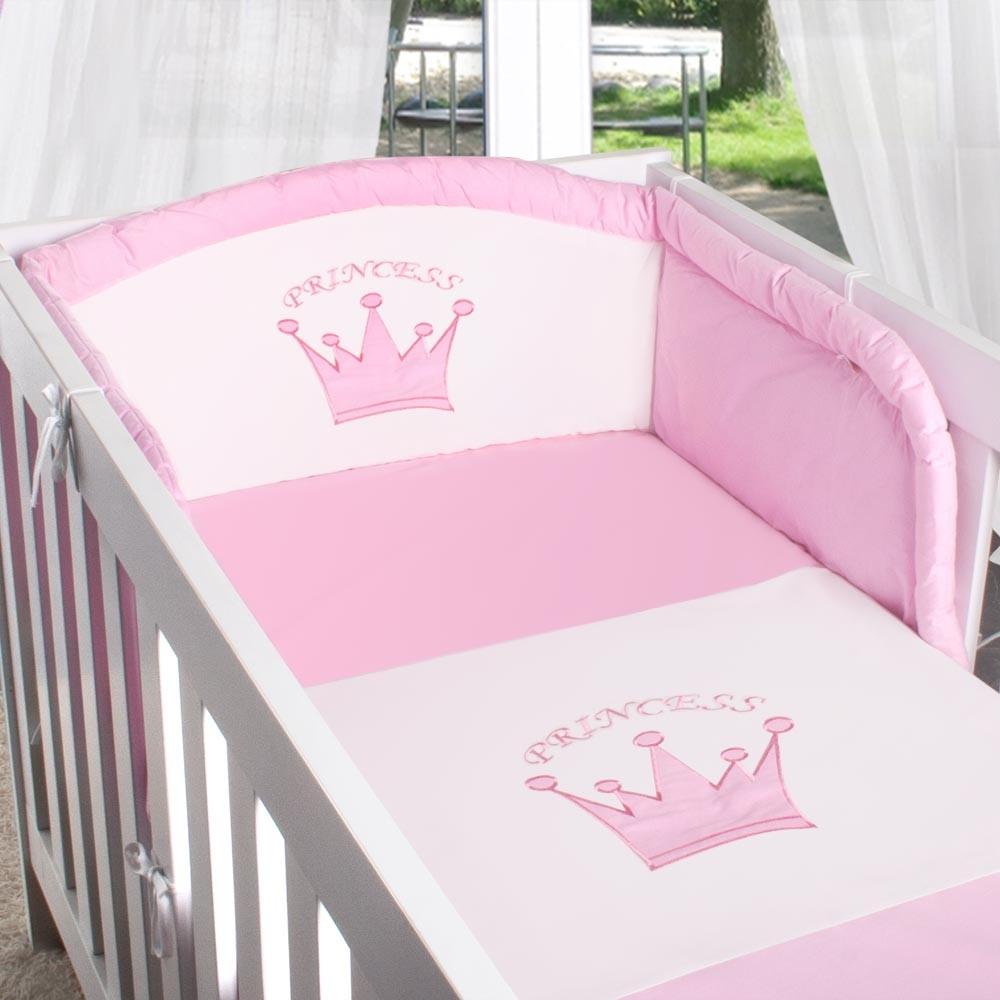 8-tlg. Babybettset mit Prinz Prinzessin Applikation Bett Tasche ...