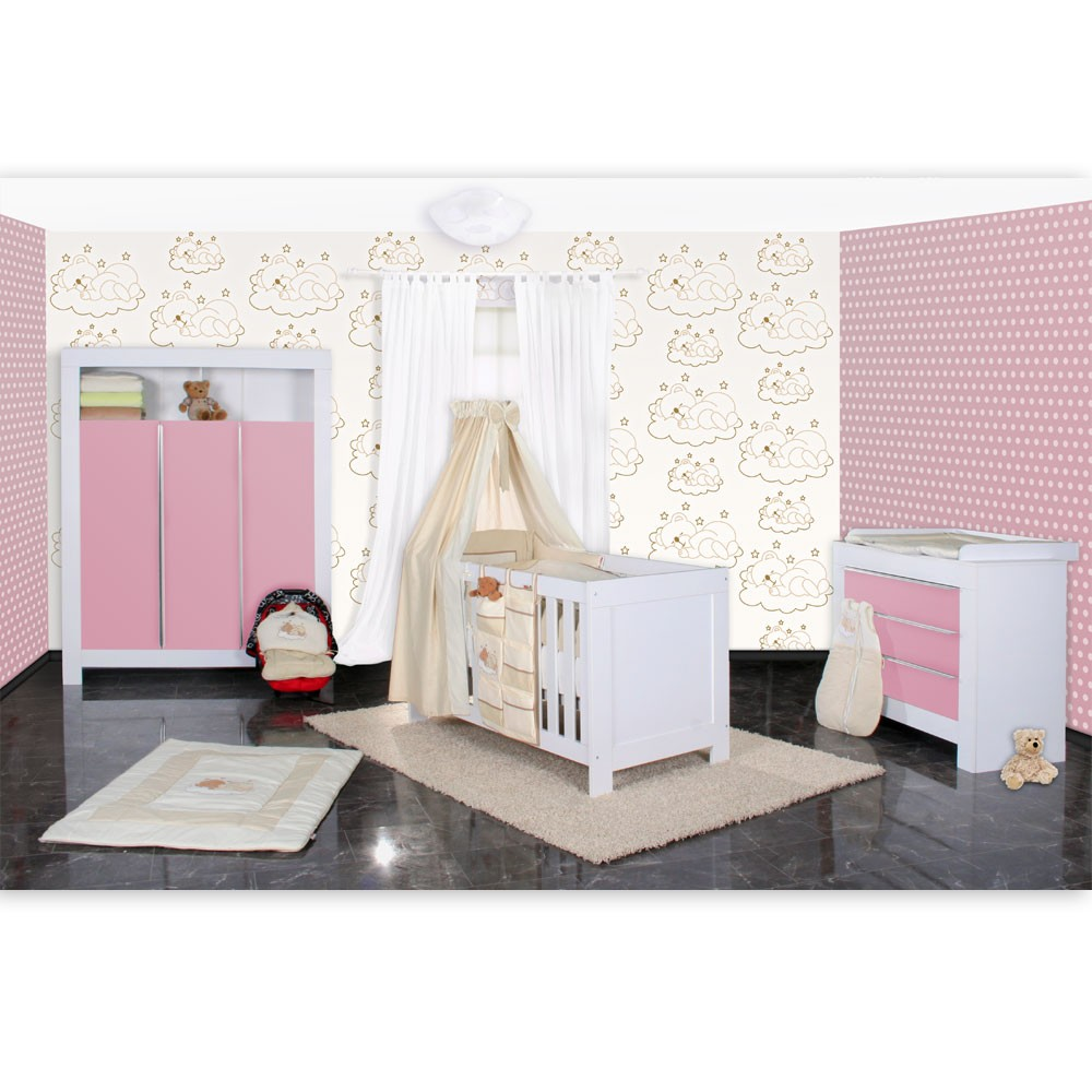 babyzimmer felix in weis rosa 21 tlg mit 3 t rigem kl sleeping bear in beige baby m bel. Black Bedroom Furniture Sets. Home Design Ideas