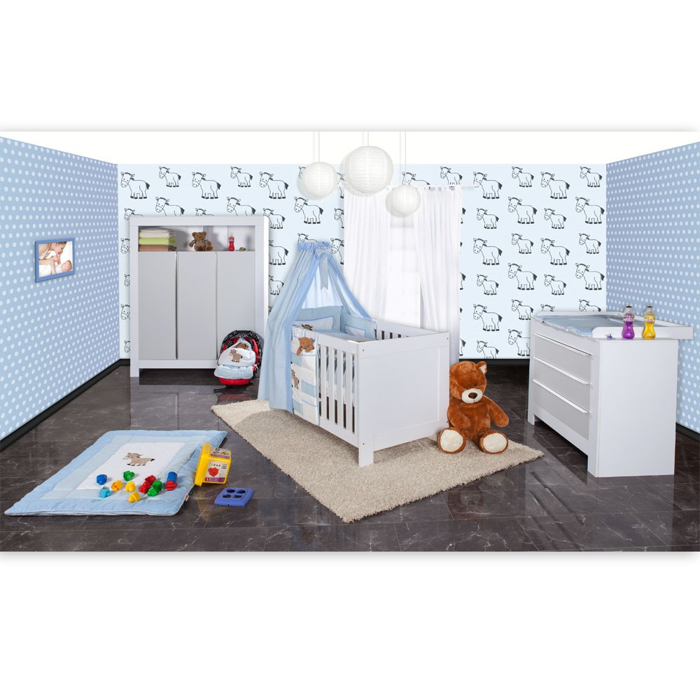 21 tlg babyzimmer felix mit 3 t rigem kl in wei grau prestij in blau ebay. Black Bedroom Furniture Sets. Home Design Ideas