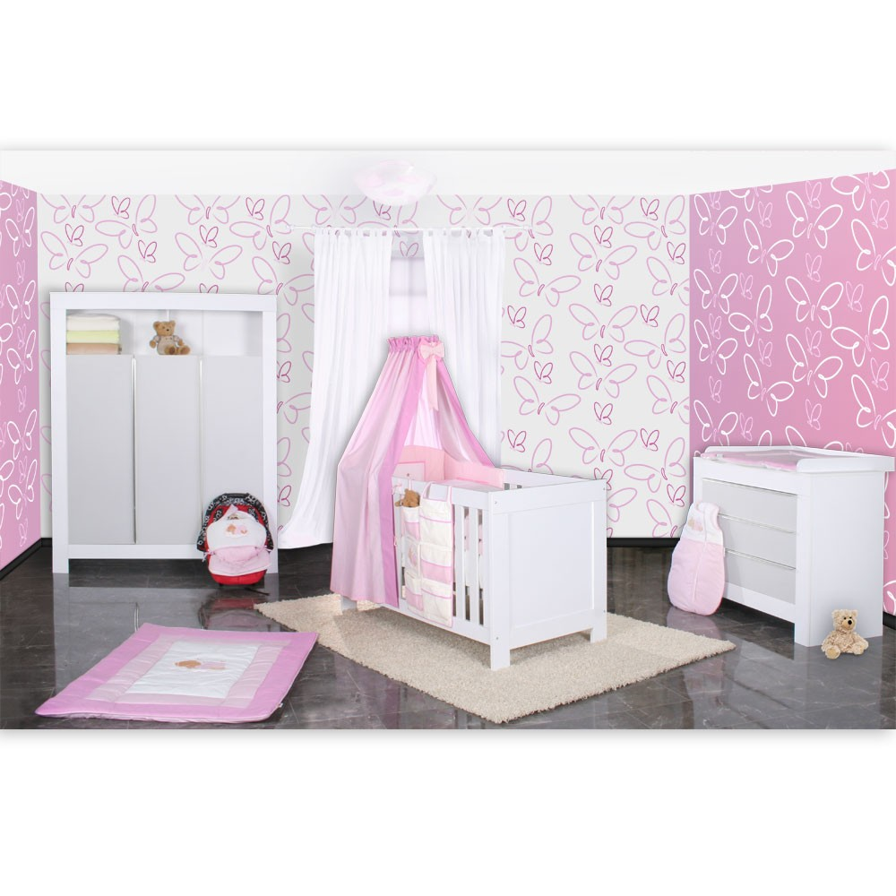 babyzimmer felix in weis grau 21 tlg mit 3 t rigem kl sleeping bear in rosa baby m bel. Black Bedroom Furniture Sets. Home Design Ideas