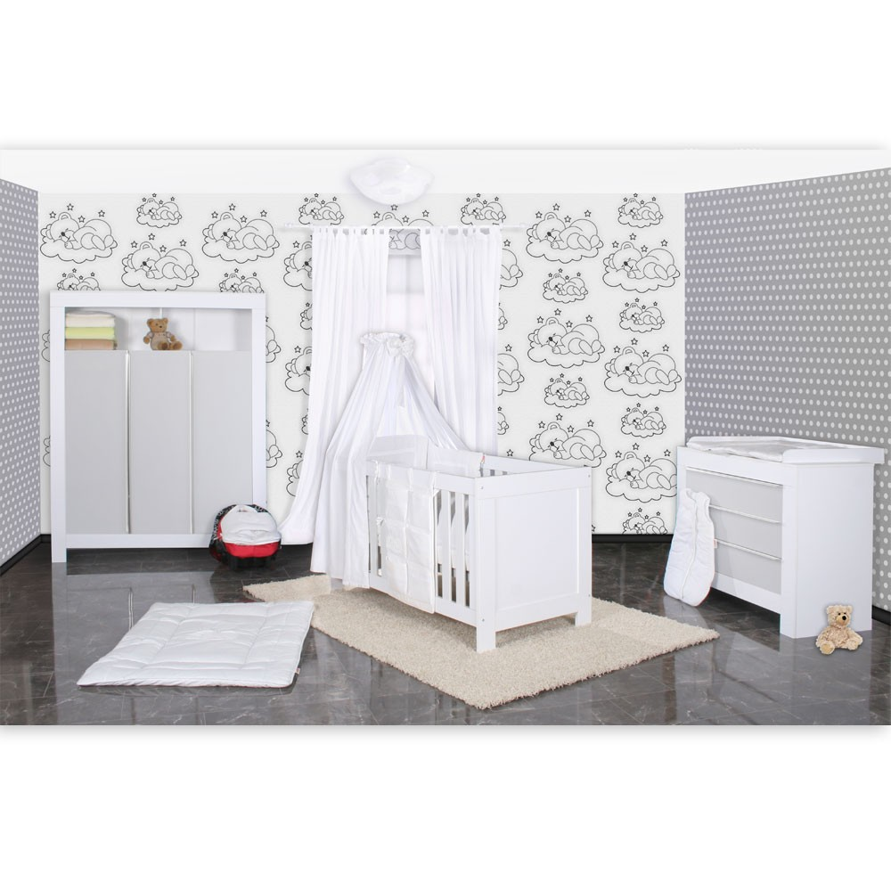 babyzimmer felix in weis grau 21 tlg mit 3 t rigem kl sleeping bear in weiss baby m bel. Black Bedroom Furniture Sets. Home Design Ideas