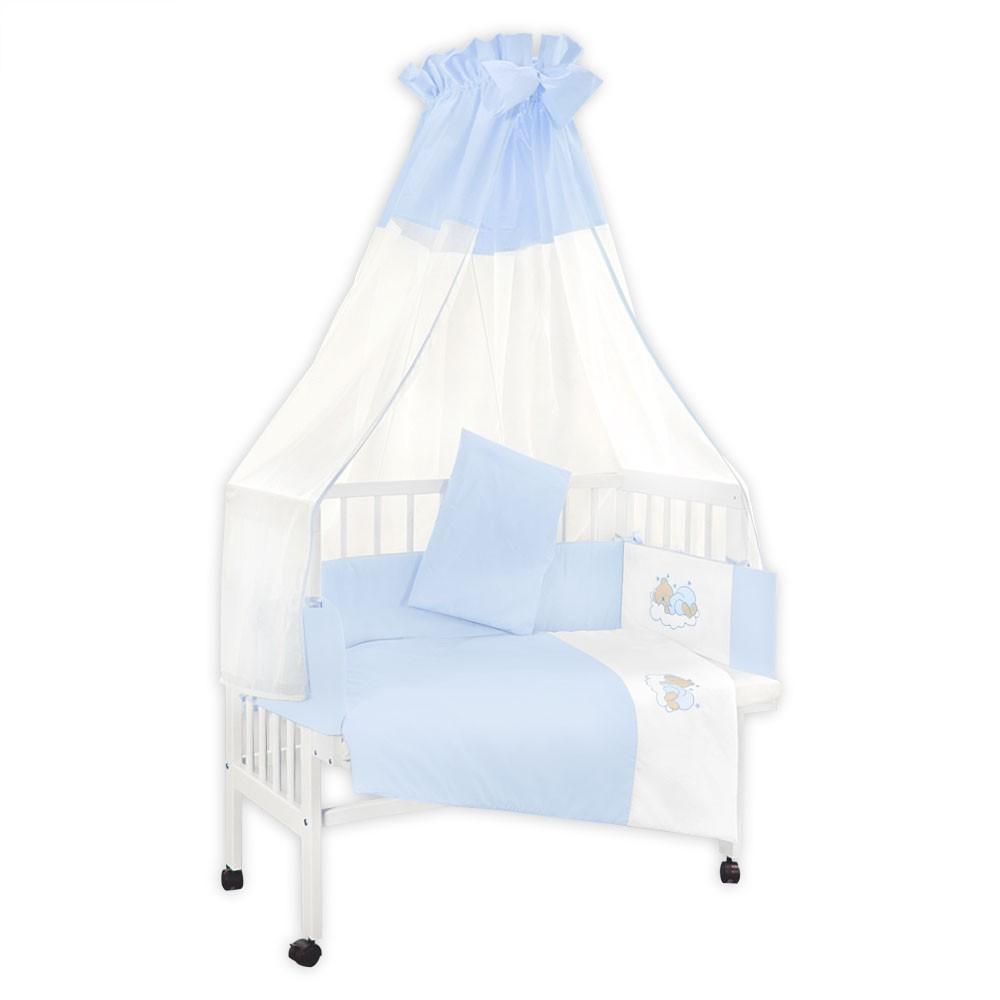baby beistellbett babybett h henverstellbar wei lackiert und himmelstange ebay. Black Bedroom Furniture Sets. Home Design Ideas