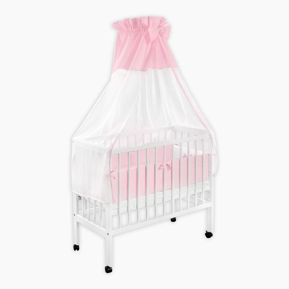 baby beistellbett babybett h henverstellbar wei lackiert und himmelstange. Black Bedroom Furniture Sets. Home Design Ideas