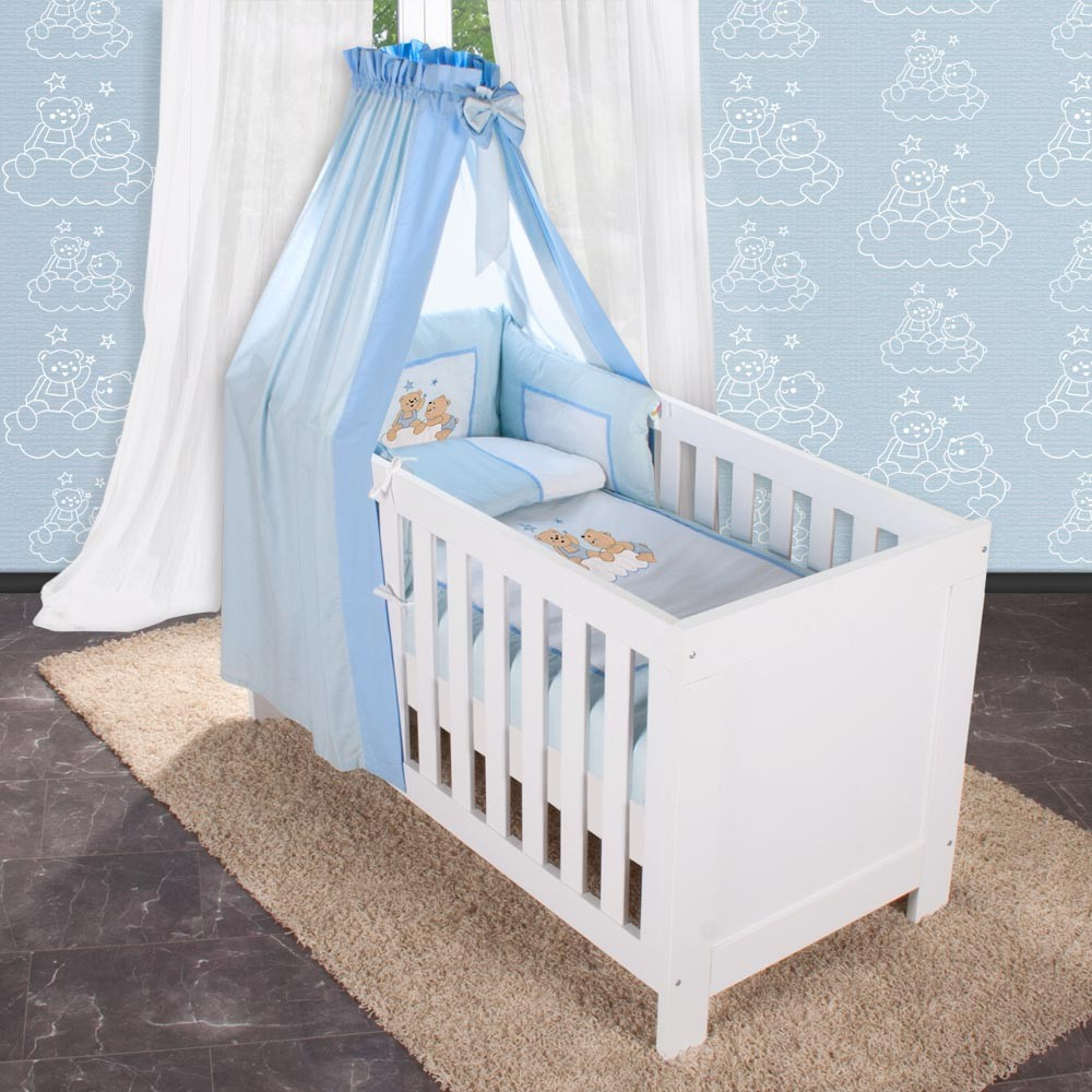 5 tlg bettw sche mit applikation bettset komplett babybett kinderbett 70x140 ebay. Black Bedroom Furniture Sets. Home Design Ideas