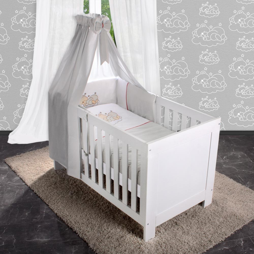 5 tlg bettw sche mit applikation bettset komplett babybett kinderbett 70x140 ebay. Black Bedroom Furniture Sets. Home Design Ideas