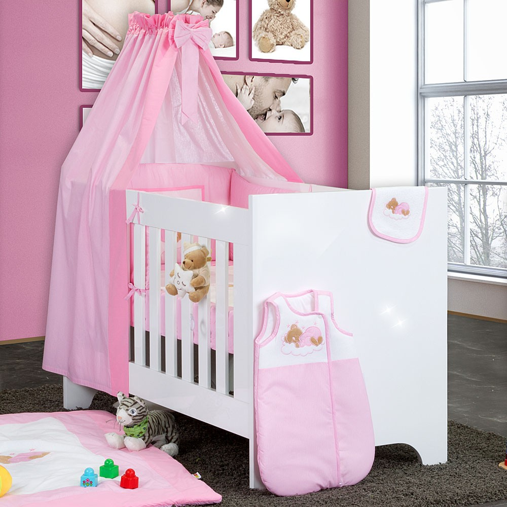 bettset baby bettw sche himmel nestchen schleife mit stickerei 100x135 neu baby m bel. Black Bedroom Furniture Sets. Home Design Ideas