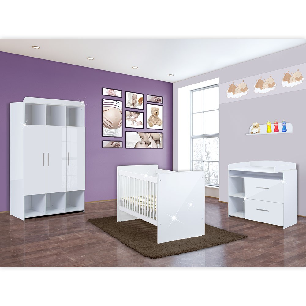 babyzimmer mexx 5 tlg in der farbe hochglanz weiss mit 3 t rigem kleiderschrank baby m bel. Black Bedroom Furniture Sets. Home Design Ideas