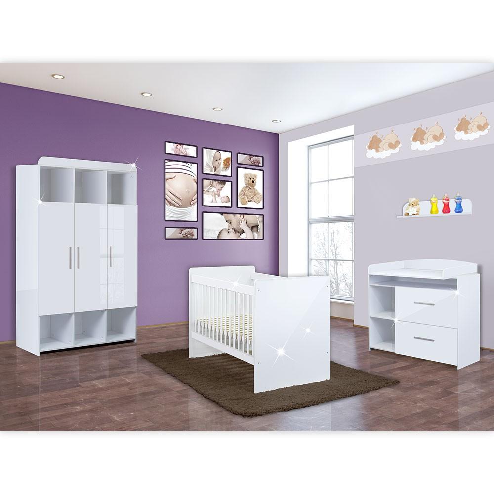 babyzimmer mexx 5 tlg in der farbe hochglanz weiss mit 3 t rigem kleiderschrank baby m bel. Black Bedroom Furniture Sets. Home Design Ideas