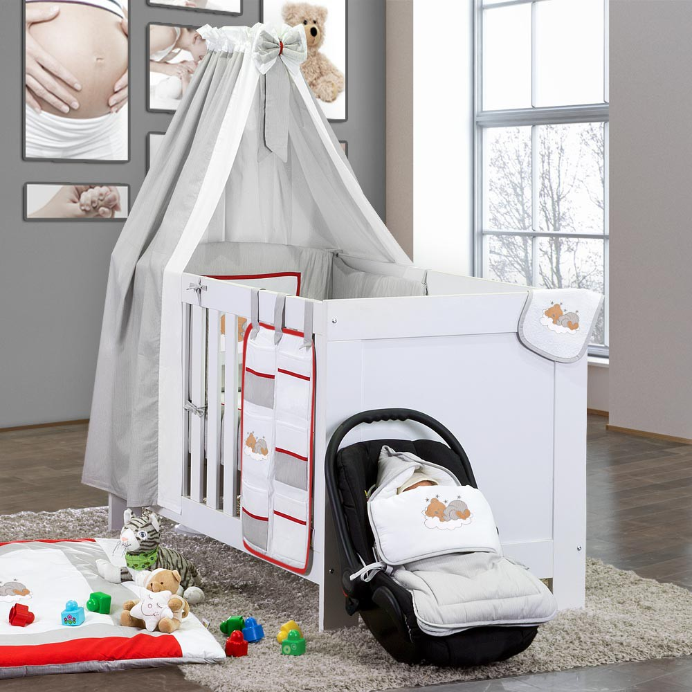 baby bettset 5 tlg sleeping bear babybettset beige blau gr n gelb wei grau rosa. Black Bedroom Furniture Sets. Home Design Ideas