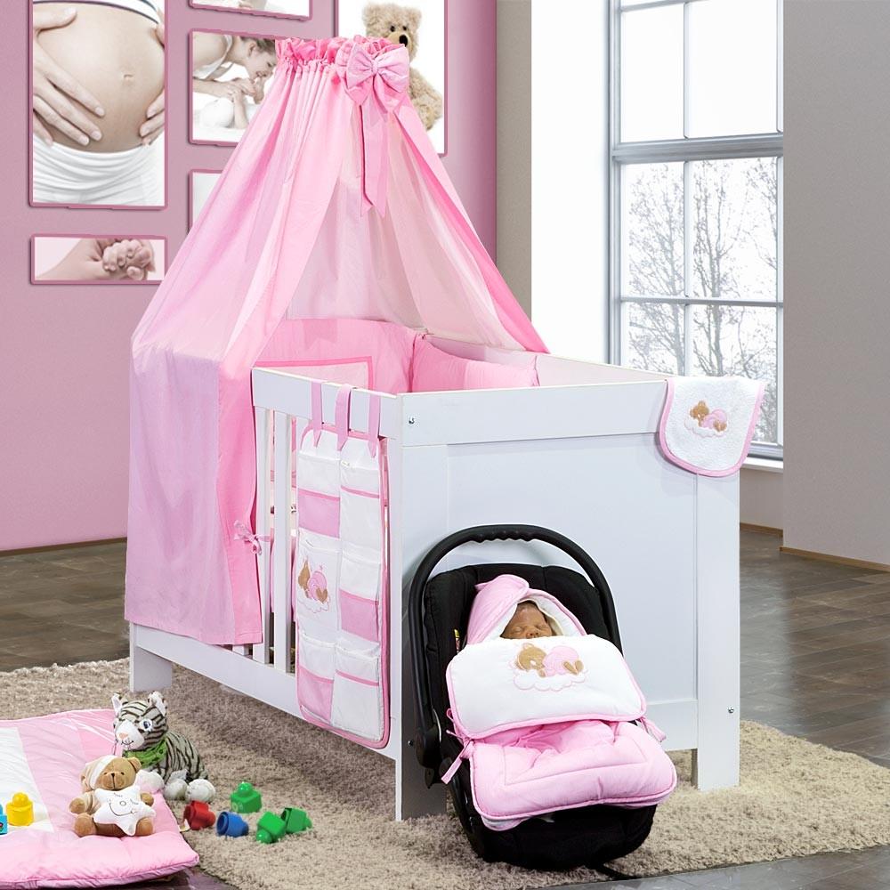baby bettset 5 tlg sleeping bear babybettset beige blau gr n gelb wei grau rosa. Black Bedroom Furniture Sets. Home Design Ideas