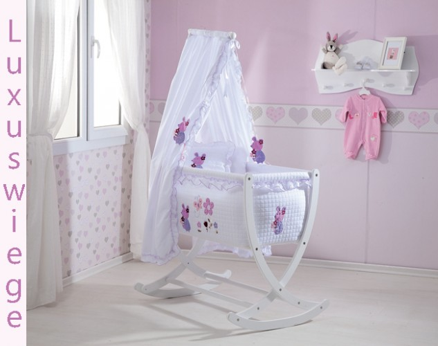 wiege mit matratze und stange daisy cradle in wei baby m bel baby wiegen. Black Bedroom Furniture Sets. Home Design Ideas