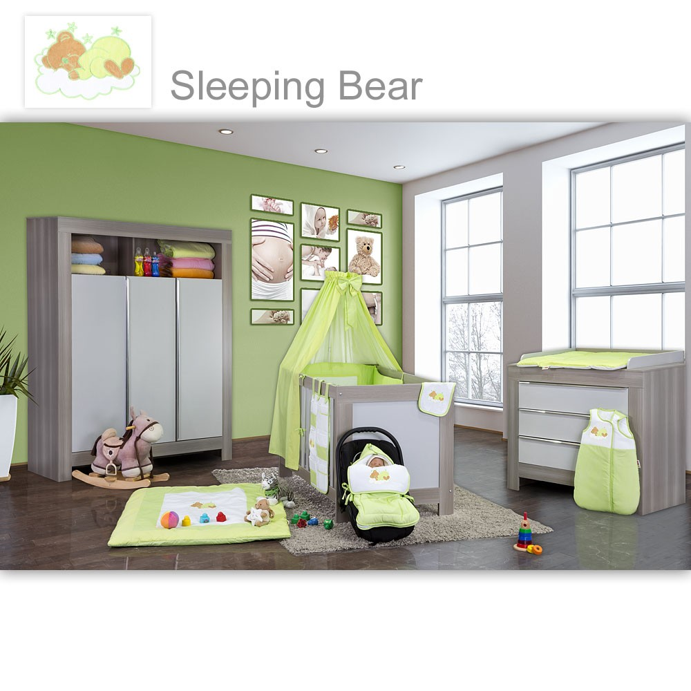 babyzimmer felix in akaziengrau 19 tlg mit 3 t rigem kl sleeping bear gr n baby m bel. Black Bedroom Furniture Sets. Home Design Ideas