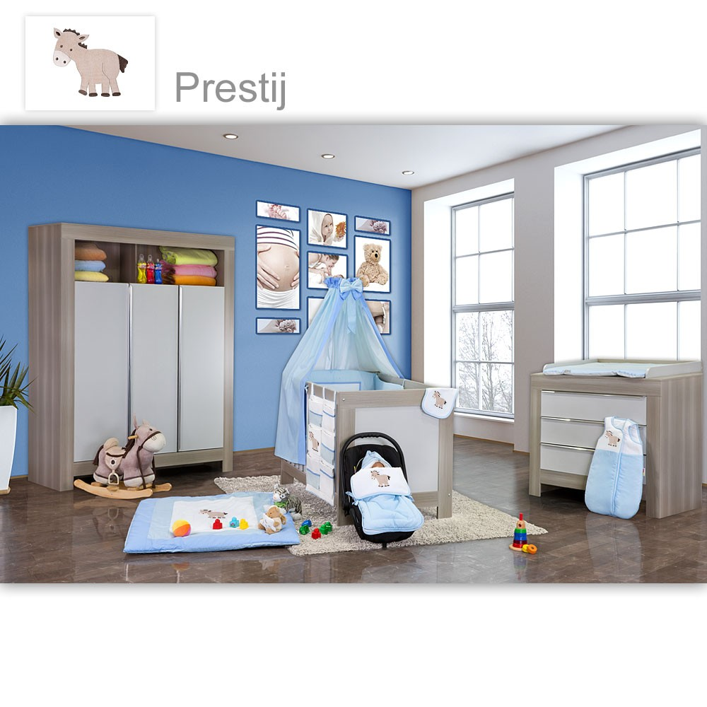 babyzimmer felix in akaziengrau 19 tlg mit 3 t rigem kl prestij blau baby m bel babyzimmer. Black Bedroom Furniture Sets. Home Design Ideas
