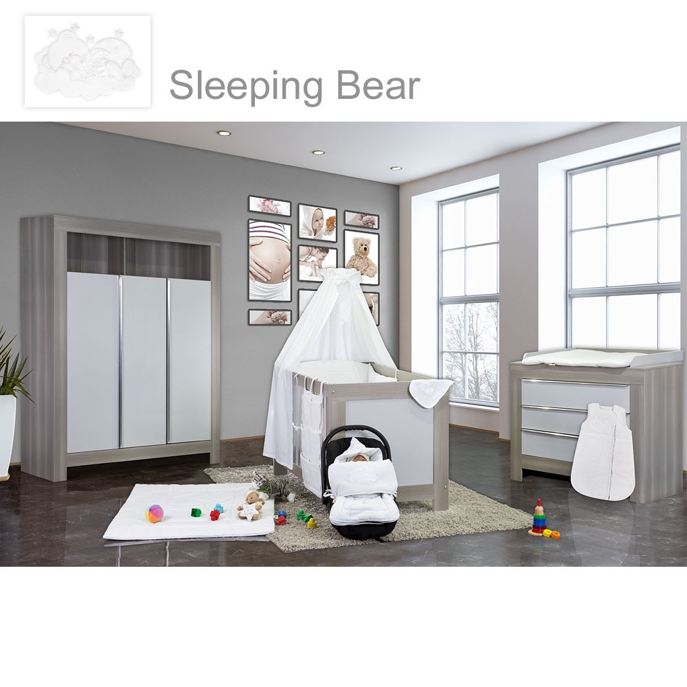 babyzimmer felix in akaziengrau 21 tlg mit 3 t rigem kl sleeping bear weiss baby m bel. Black Bedroom Furniture Sets. Home Design Ideas