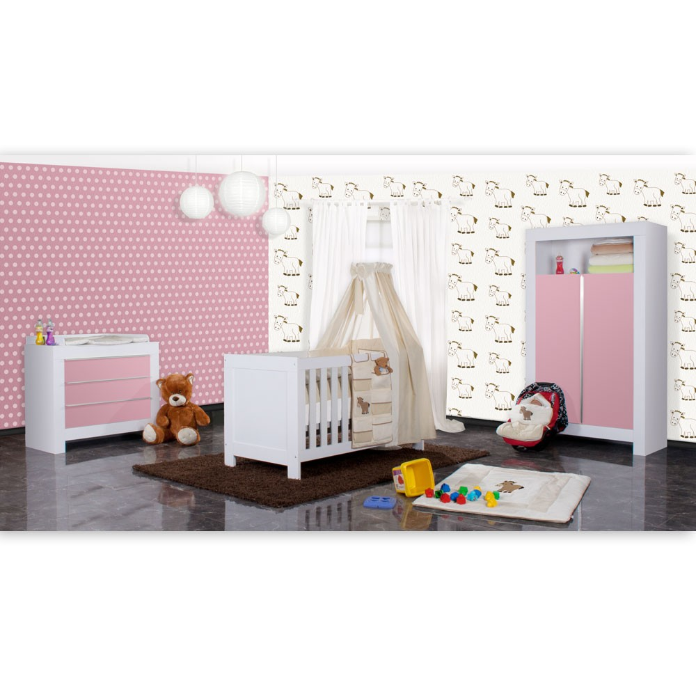 babyzimmer felix in weiss rosa 19 tlg mit 2 t rigem kl prestij in beige baby m bel babyzimmer. Black Bedroom Furniture Sets. Home Design Ideas