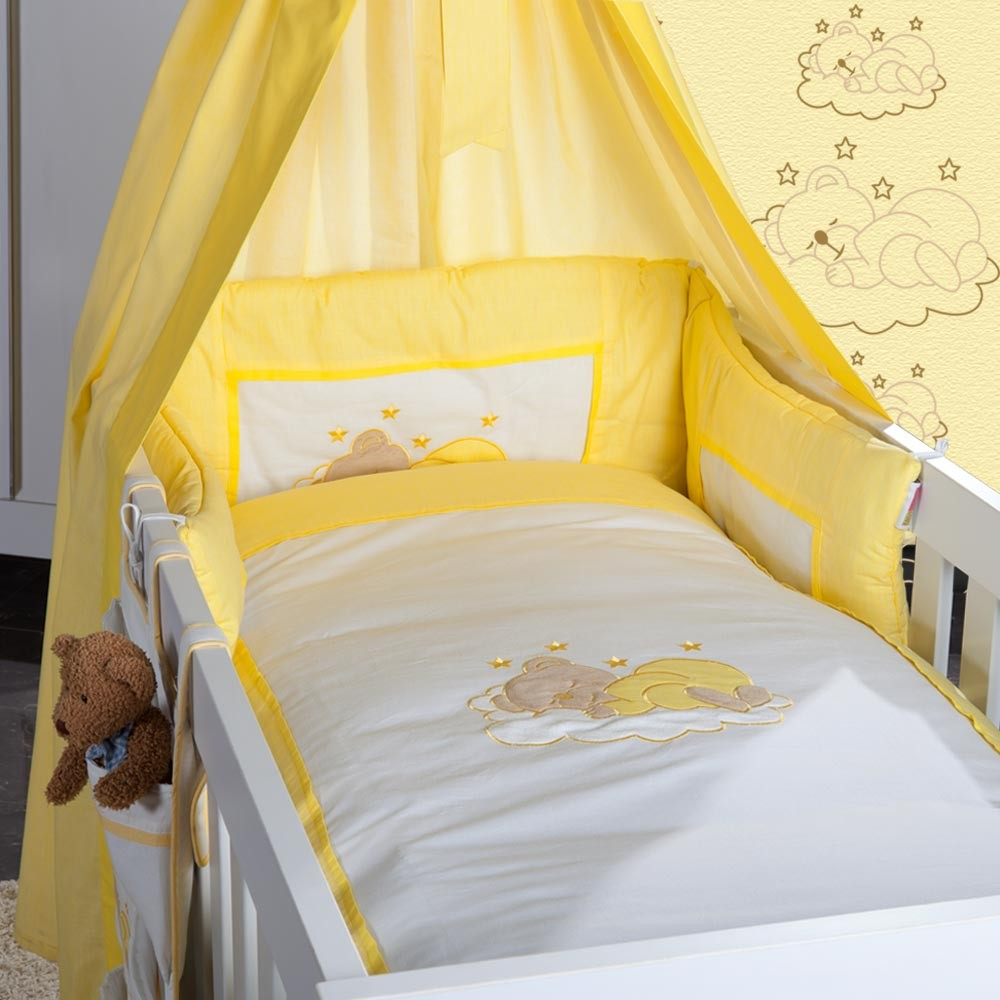 babyzimmer felix in weiss gr n 19 tlg mit 2 t rigem kl sleeping bear in gelb baby m bel. Black Bedroom Furniture Sets. Home Design Ideas