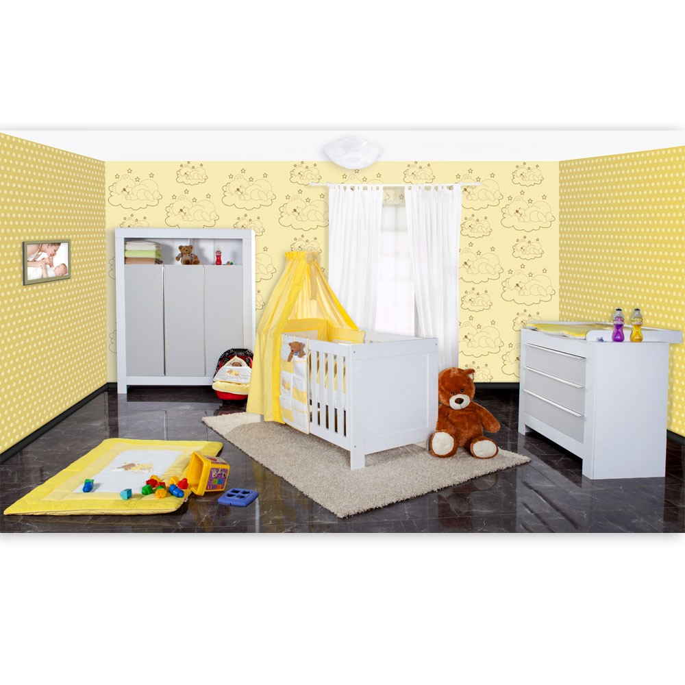 babyzimmer felix in weiss grau mit 3 t rigem kl 19 tlg sleeping bear gelb baby m bel. Black Bedroom Furniture Sets. Home Design Ideas