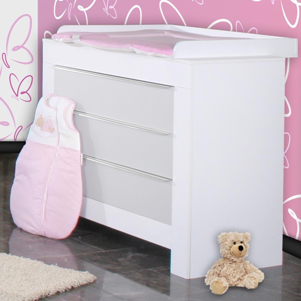babyzimmer felix in weiss grau mit 3 t rigem kl 19 tlg. Black Bedroom Furniture Sets. Home Design Ideas