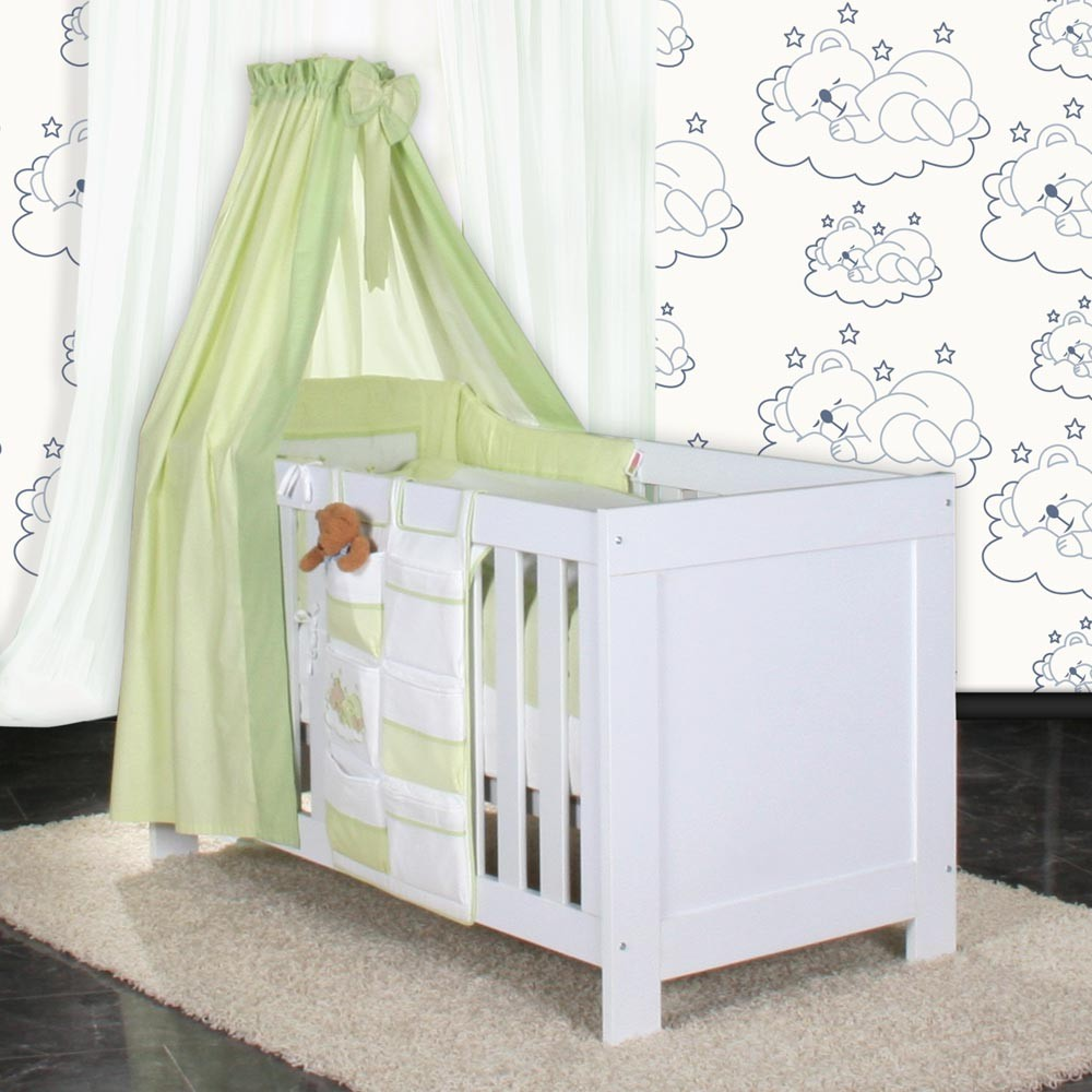 babyzimmer felix in weiss blau mit 3 t rigem kl 19 tlg sleeping bear gr n baby m bel. Black Bedroom Furniture Sets. Home Design Ideas