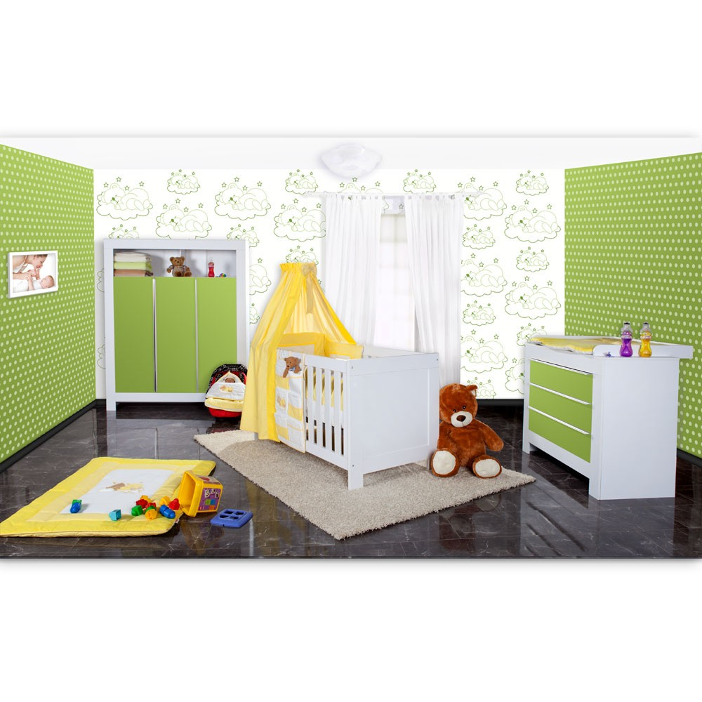 babyzimmer felix in weiss gr n mit 3 t rigem kl 19 tlg sleeping bear gelb baby m bel. Black Bedroom Furniture Sets. Home Design Ideas