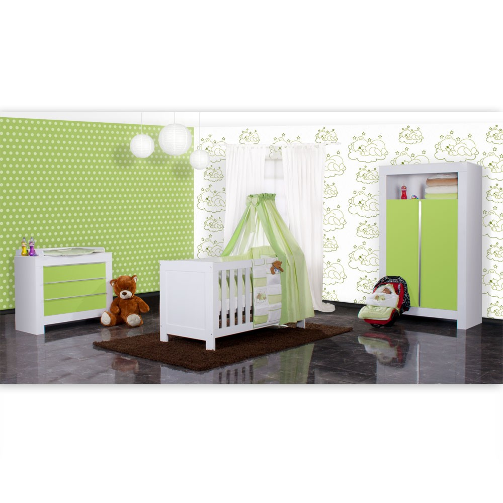 babyzimmer felix in weiss gr n 21 tlg mit 2 t rigem kl sleeping bear in gr n baby m bel. Black Bedroom Furniture Sets. Home Design Ideas