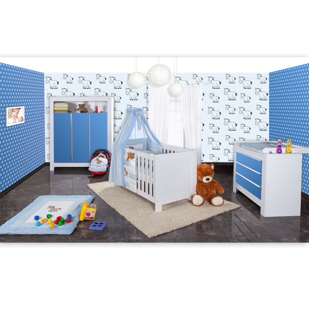 babyzimmer felix in weis blau 21 tlg mit 3 t rigem kl. Black Bedroom Furniture Sets. Home Design Ideas