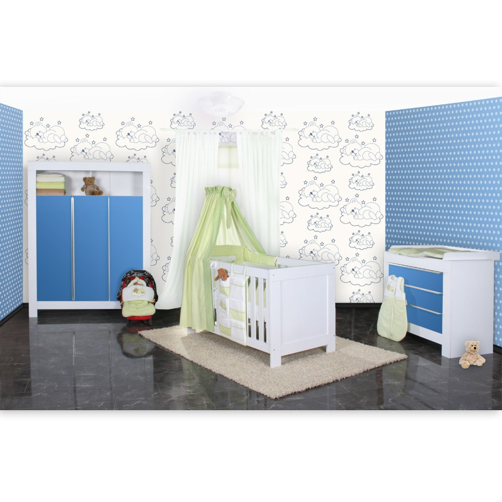 babyzimmer felix in weis blau 21 tlg mit 3 t rigem kl sleeping bear in gr n baby m bel. Black Bedroom Furniture Sets. Home Design Ideas