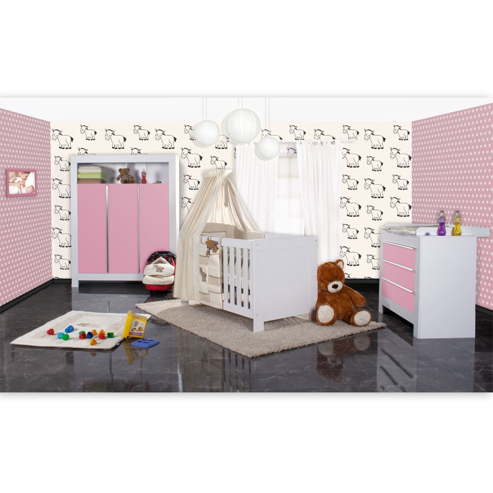 babyzimmer felix in weis rosa 21 tlg mit 3 t rigem kl prestij in beige baby m bel babyzimmer. Black Bedroom Furniture Sets. Home Design Ideas