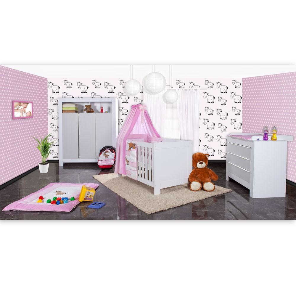babyzimmer felix in weis grau 21 tlg mit 3 t rigem kl. Black Bedroom Furniture Sets. Home Design Ideas