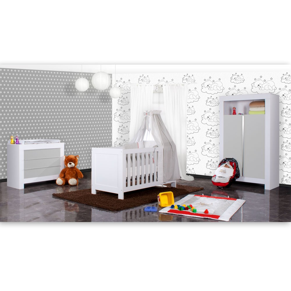babyzimmer felix in weiss grau 21 tlg mit 2 t rigem kl sleeping bear in grau baby m bel. Black Bedroom Furniture Sets. Home Design Ideas