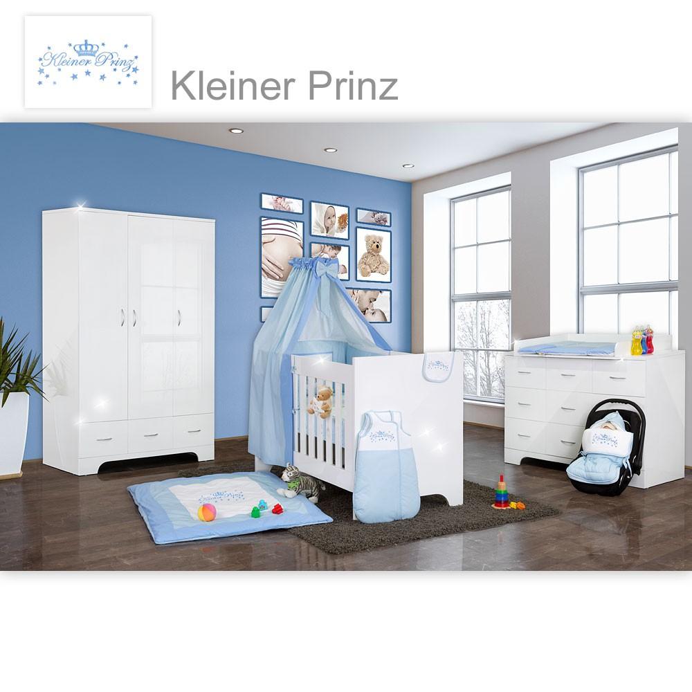 hochglanz babyzimmer memi 21 tlg mit textilien kleiner prinz in blau baby m bel babyzimmer memi. Black Bedroom Furniture Sets. Home Design Ideas