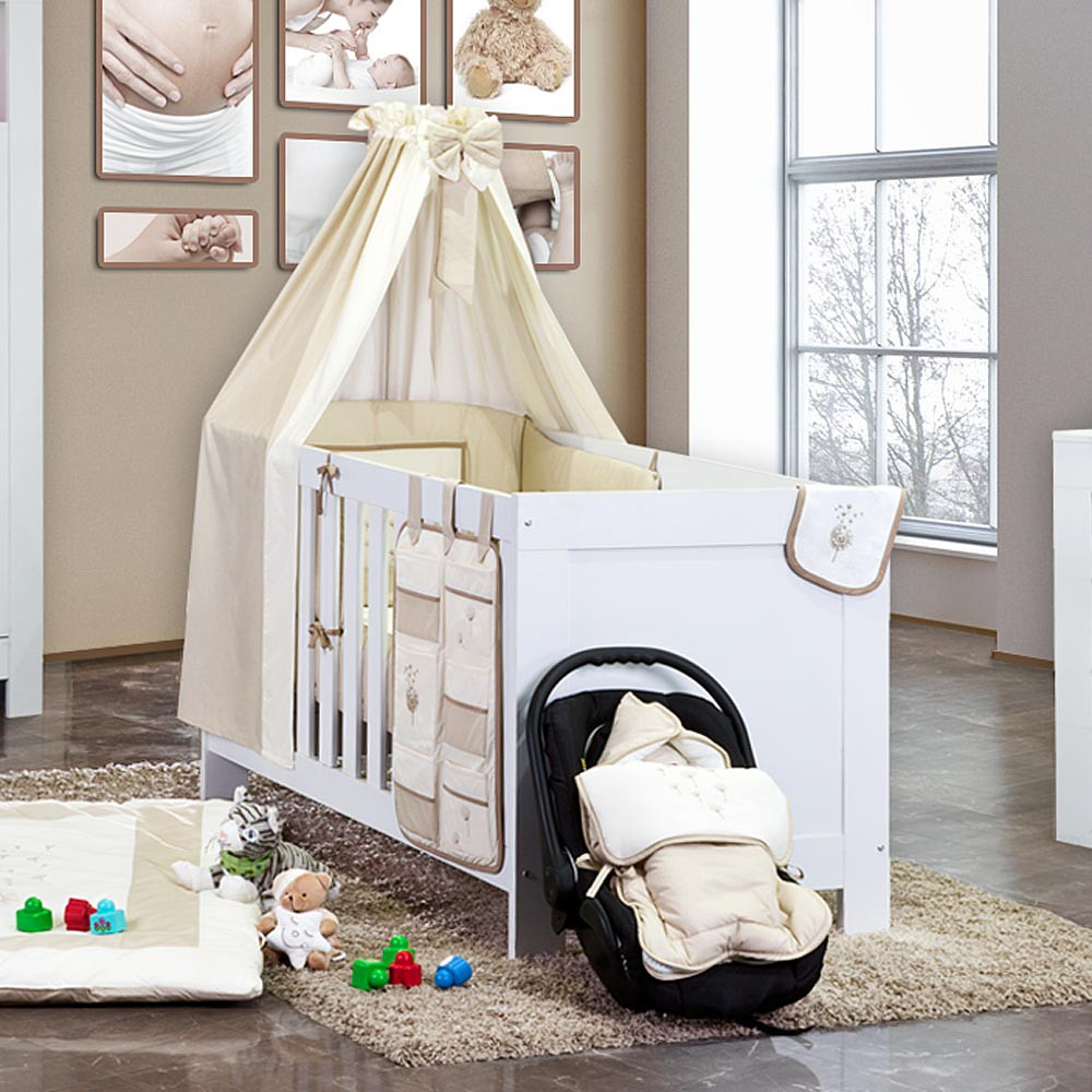 5 tlg babybettset blossom in beige baby m bel babybettausstattung bettsets. Black Bedroom Furniture Sets. Home Design Ideas