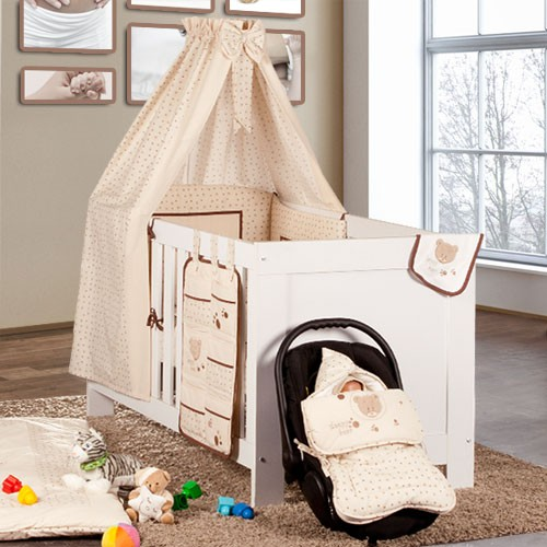 5 tlg babybettset cute bear in beige baby m bel babybettausstattung bettsets. Black Bedroom Furniture Sets. Home Design Ideas