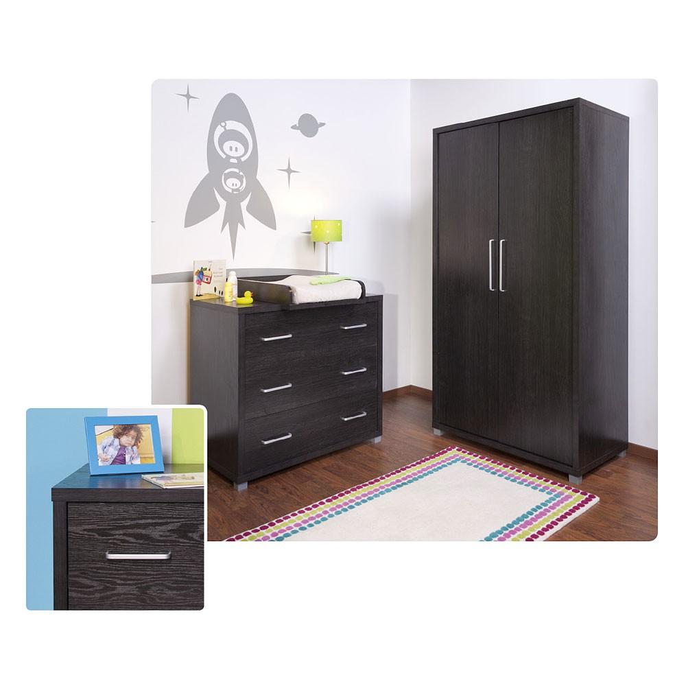 kleiderschrank jony mit 2 t ren in schwarz baby m bel. Black Bedroom Furniture Sets. Home Design Ideas