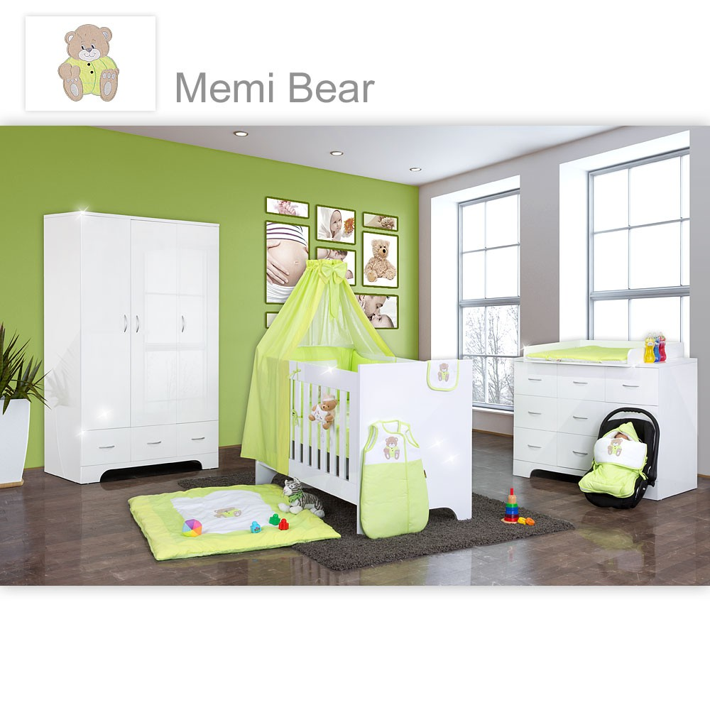 hochglanz babyzimmer 12 tlg mit memi bear in gr n baby m bel babyzimmer memi hochglanz 12 tlg. Black Bedroom Furniture Sets. Home Design Ideas