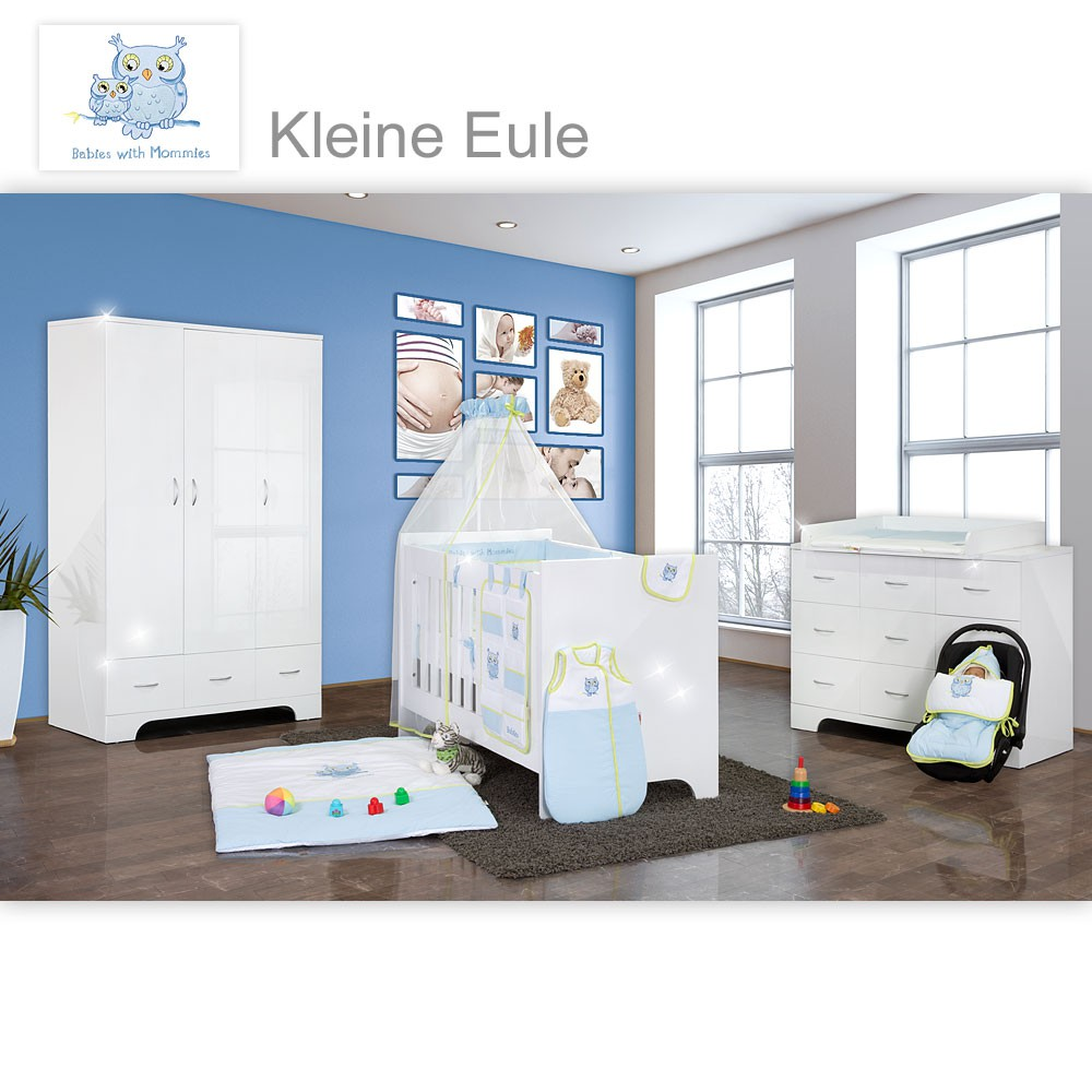 hochglanz babyzimmer 11 tlg mit kleine eule in blau baby m bel babyzimmer memi hochglanz 12 tlg. Black Bedroom Furniture Sets. Home Design Ideas