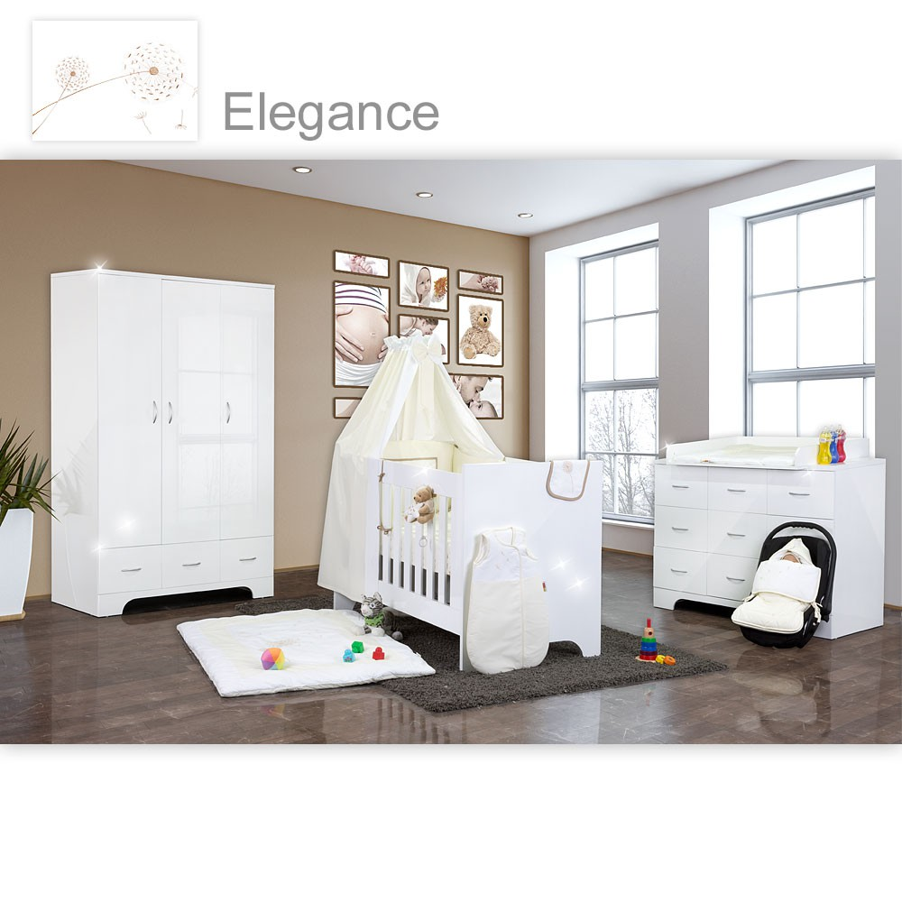 hochglanz babyzimmer memi 19 tlg mit textilien von elegance in wei baby m bel babyzimmer memi. Black Bedroom Furniture Sets. Home Design Ideas