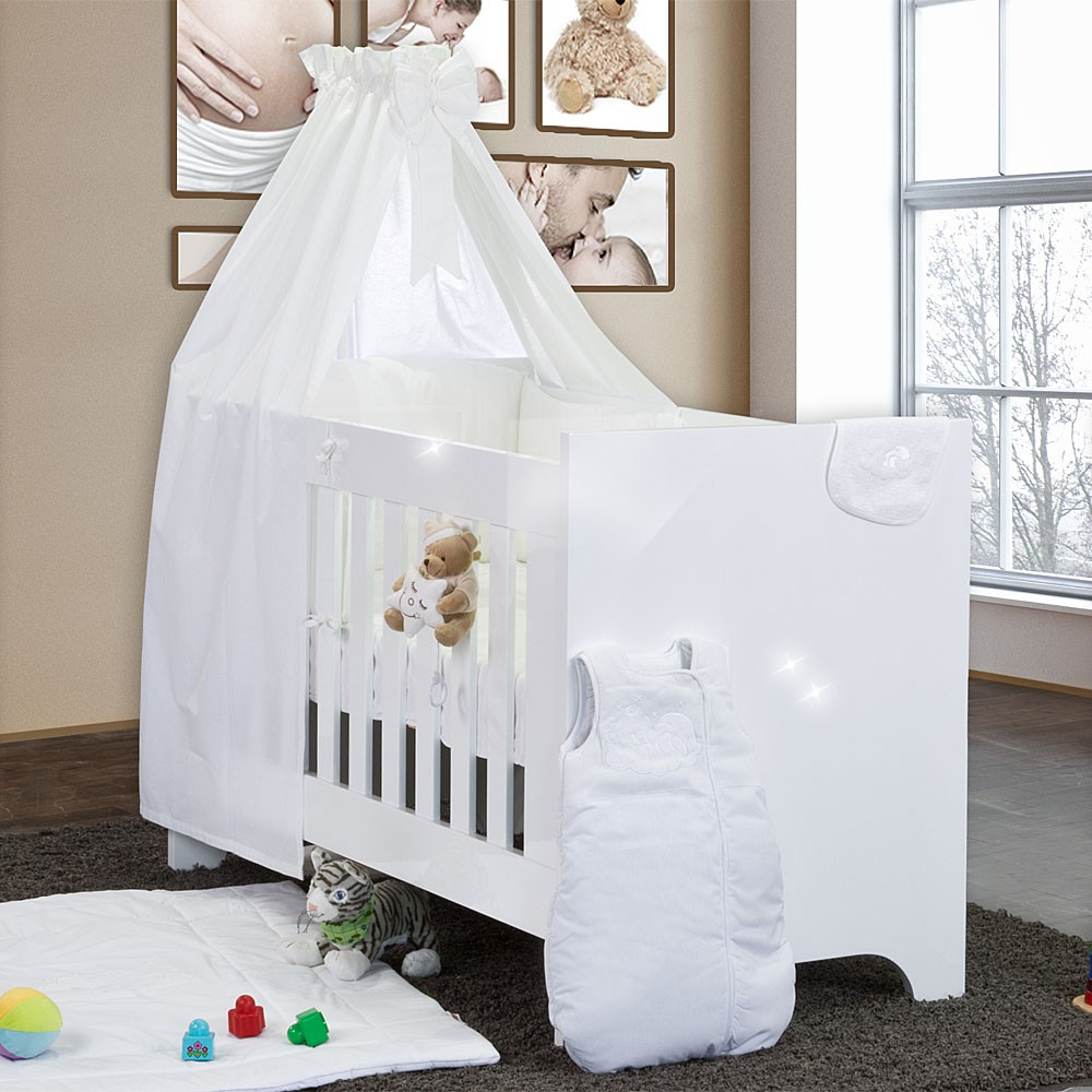 hochglanz babybett 10 teilig mit sleeping bear weiss baby. Black Bedroom Furniture Sets. Home Design Ideas