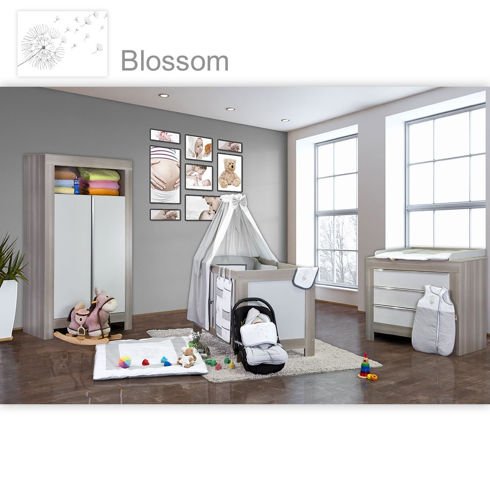 babyzimmer felix in akaziengrau 19 tlg mit 2 t rigem kl blossom in wei grau baby m bel. Black Bedroom Furniture Sets. Home Design Ideas
